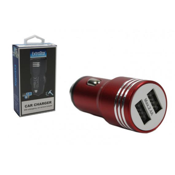 CARICATORE USB DA AUTO C 2 ATTACCHI 2 4A